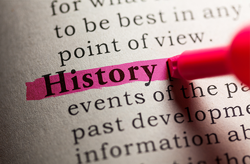 """In a book, the word """"History"""" is highlighted in pink"""