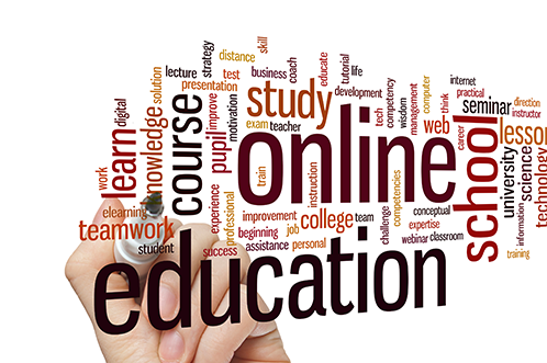 Different words in orange, red and yellow colors descriping online education