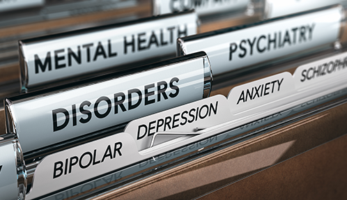 Folders in a file labeled for Mental Health, Psychiatry and Disorders