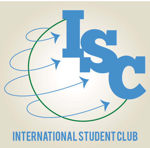 """The Internation Student Club which shows a green semi-circle with blue arrows coming out and pointing to a large """"ISC"""""""