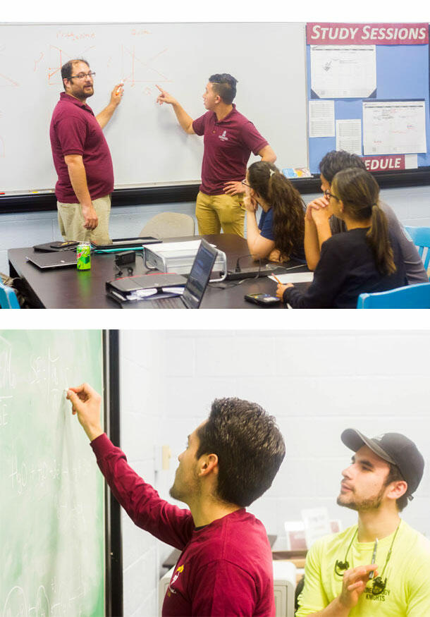 A collage of two photos depicting CASA tutors helping and teaching their peers