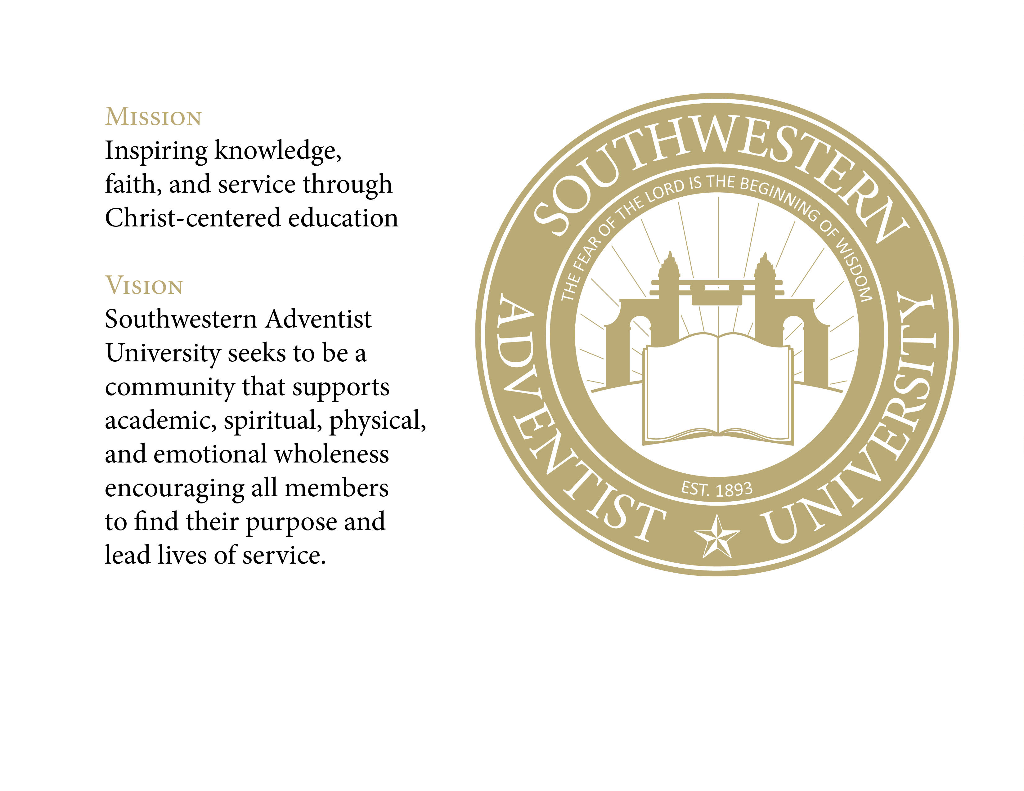 White photo stating the mission and vision of Southwestern Adventist University