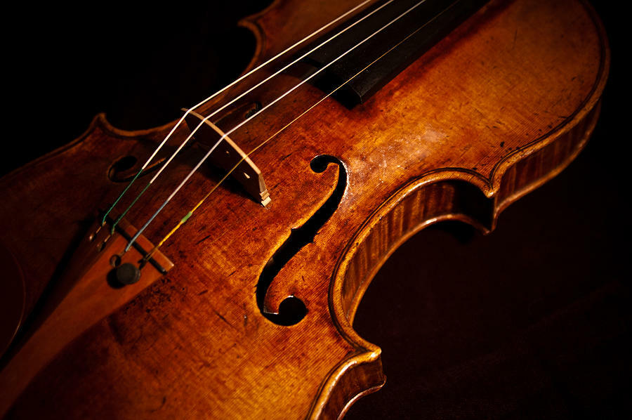 Beautiful brown violin against the contrast of a black background