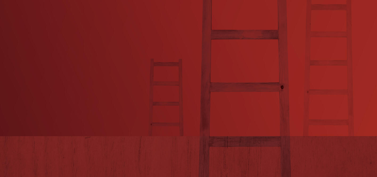 Red background with three faint maroon ladders in the photo